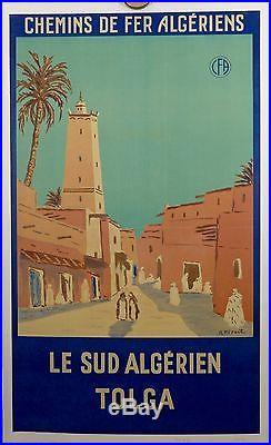 AFFICHE ANCIENNE LITHOGRAPHIQUE TOLGA ALGERIE par R PERAULT 1950 entoilée