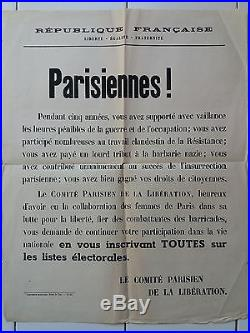 AFFICHE ANCIENNE Libération Droit de vote femmes Original poster Militaria WWII