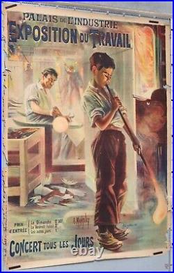 AFFICHE ANCIENNE MANTELET PALAIS DE L'INDUSTRIE EXPOSITION DU TRAVAIL cir 1895