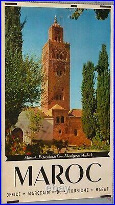 AFFICHE ANCIENNE MAROC MINARET EXPRESSION DE L'AME ISLAMIQUE DU MAGREB ci 1950