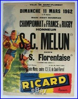AFFICHE ANCIENNE MELUN SAINT FLORENT championnat FRANCE RUGBY FFR 1962 RICARD