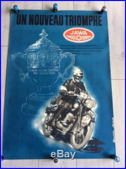 AFFICHE ANCIENNE MOTO JAWA Année 50