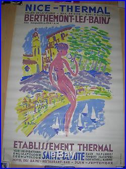 AFFICHE ANCIENNE NICE BERTHEMONT PAR EMMANUEL BELLINI LITHO 1950