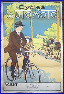 AFFICHE ANCIENNE ORIGINAL CYCLES AUTOMOTO COUREURS CYCLISTE CIRCA 1920