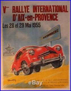 AFFICHE ANCIENNE ORIGINALE AIX EN PROVENCE 5eme RALLYE AUTOMOBILE 1955 litho car