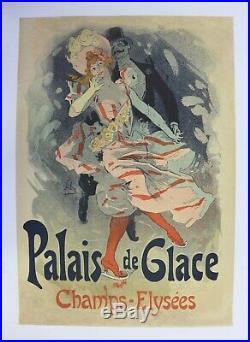 AFFICHE ANCIENNE ORIGINALE CHERET PALAIS de GLACE CHAMPS ELYSEES XIXe litho
