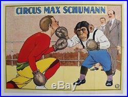 AFFICHE ANCIENNE ORIGINALE CIRQUE CIRCUS MAX SCHUMANN SINGE chimpanzé BOXE 1920