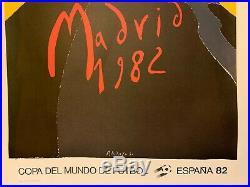 AFFICHE ANCIENNE ORIGINALE COUPE du MONDE de FOOT ESPAGNE 1982 ENTOILÉE 60X80