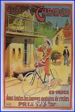 AFFICHE ANCIENNE ORIGINALE CYCLES CARMEN par MARODON bizet tauromachie vélo 1910