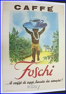AFFICHE ANCIENNE ORIGINALE Café Italien Caffé FOSCHI petit nègre négritude 1960