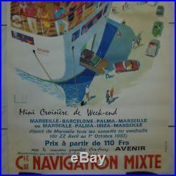 AFFICHE ANCIENNE ORIGINALE Cie COMPAGNIE DE NAVIGATION MIXTE AVENIR MAURICE DARD