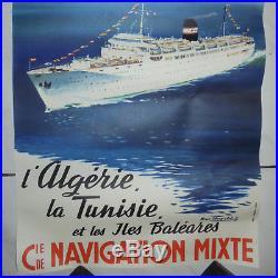 AFFICHE ANCIENNE ORIGINALE Cie COMPAGNIE DE NAVIGATION MIXTE CHAPELET KAIROUAN