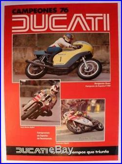 AFFICHE ANCIENNE ORIGINALE DUCATI MOTO 1976 original poster spain TEJEDO signed