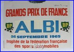 AFFICHE ANCIENNE ORIGINALE GRAND PRIX FRANCE CIRCUIT ALBI 1964 BELIGOND Brabham