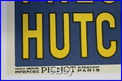 AFFICHE ANCIENNE ORIGINALE HUTCHINSON MICH REMOULEUR PNEU bleue