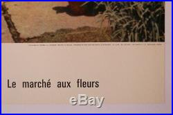 AFFICHE ANCIENNE ORIGINALE TOURISME PARIS 4e MARCHE AUX FLEURS PEUGEOT 403