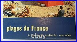 AFFICHE ANCIENNE ORIGINALE TOURISME PLAGES de FRANCE NORMANDIE TENTE DEAUVILLE