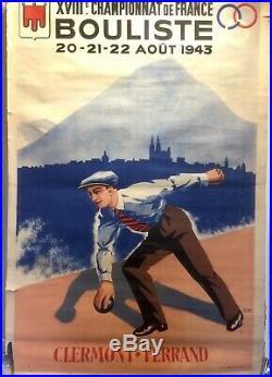 AFFICHE ANCIENNE ORIGINALE XVIIIeme Championat de France BOULISTE SETTO 1943