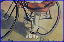 AFFICHE ANCIENNE ORIGINALE vélo CYCLE La Française 1900 cocarde militaire PAL