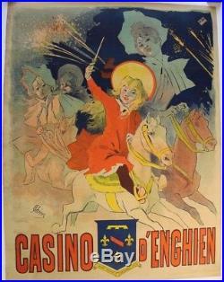 AFFICHE ANCIENNE PARIS CASINO D'ENGHIEN Jules Chéret 1890 manège chevaux CHAIX