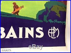 AFFICHE ANCIENNE PLM ORIGINALE EVIAN LES BAINS par Geo FRANCOIS 1926 Entoilée