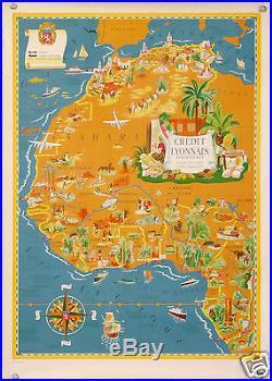 AFFICHE ANCIENNE RARE de LUCIEN BOUCHER LE CREDIT LYONNAIS EN AFRIQUE CIRCA 1950
