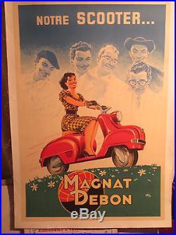 AFFICHE ANCIENNE SCOOTER MAGNAT-DEBON FEMME ANNEES 1960