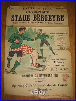 AFFICHE ANCIENNE STADE BERGEYRE RUGBY 23 novembre 1919