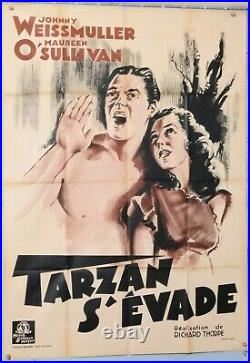 AFFICHE ANCIENNE TARZAN S'EVADE Johnny WEISSMULLER Maureen O SULIVAN ci. 1936-40