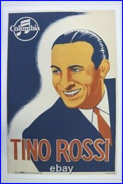 AFFICHE ANCIENNE TINO ROSSI jeune COLUMBIA RECORDS Sony Music GIRBAL CORSE
