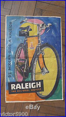 AFFICHE ANCIENNE VELO RALEIGH NOTTINGHAM ENGLAND