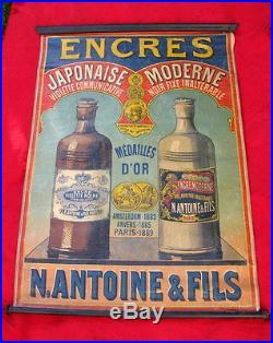 AFFICHE ANCIENNE XIX ème ENCRES N. ANTOINE & FILS / ecriture publicité ink