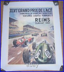 AFFICHE AUTOMOBILE XLVIème GRAND PRIX ACF REIMS JEAN DE GACHONS 1960 50 X 65 CM