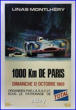 AFFICHE AUTOMOBILE circuit LINAS MONTHLERY 1000km PARIS 12 octobre 69 BELIGOND