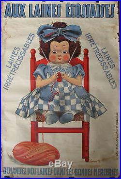 AFFICHE AUX LAINES ECOSSAISES. 1928. FORMAT 120 X 80 CM. ENVOIE SOUS TUBE