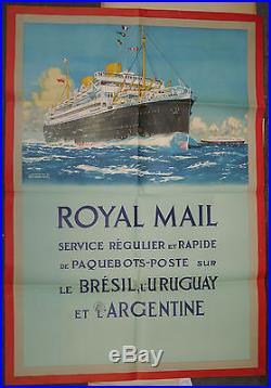 AFFICHE Ancienne PAQUEBOT ROYAL MAIL Kenneth SHOESMITH Brésil Uruguay Argentine