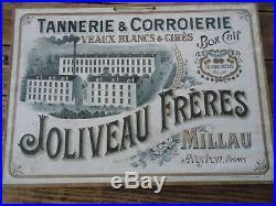 AFFICHE CARTON ORIGINAL 1910 TANNERIE CORROIERIE MILLAU VEAUX BLANCS JOLIVEAU
