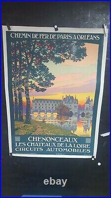 AFFICHE CHATEAUX DE LA LOIRE CHENONCEAUX vers 1925