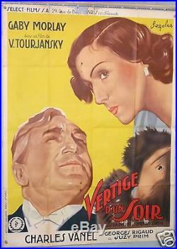 AFFICHE CINEMA VERTIGE D'UN SOIR GABY MORLAY CHARLES VANEL circa 1936