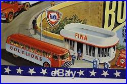 AFFICHE CIRQUE BOUGLIONE FINA station pompe essence CARAVANE chapiteau