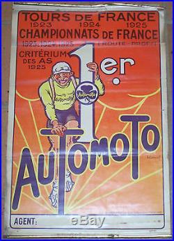 AFFICHE CYCLES AUTOMOTO TOURS DE FRANCE CRITERIUM DES AS CASSARD 1925