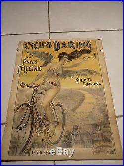 AFFICHE CYCLES DARING 1900 SUR PNEUS ELECTRIC IMPRIMERIE VERNEAU PARIS