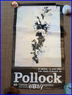 AFFICHE EXPOSITION POLLOCK CENTRE GEORGES POMPIDOU PARIS JANVIER À AVRIL 1982