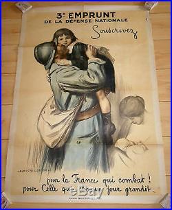 AFFICHE GUERRE DE 14/18 AUGUSTE LEROUX 3 ME EMPRUNT