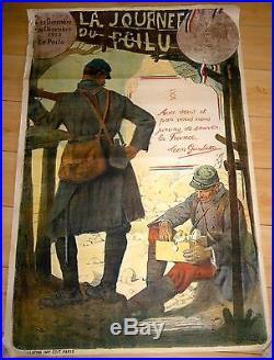 AFFICHE GUERRE DE 14 /18 LITHOGRAPHIE 80 X 121 CM JOURNEE DU POILU 1915