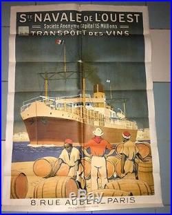 AFFICHE ILLUSTRÉE PAR Sandy HOOK. BATEAU TRANSPORT DES VINS 1930