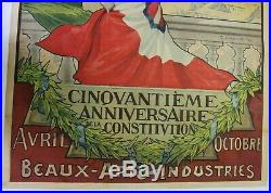 AFFICHE ITALIE ELECTRICITE TURIN 1898 G. CARPANETTO expo constitution 1848 litho
