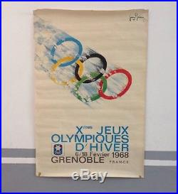AFFICHE JEUX OLIYMPIQUES HIVER GRENOBLE1968 ORIGINAL OLYMPIC GAMES winter 68