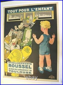 AFFICHE JOUETS TOUT POUR L'ENFANT ROUSSEL 1926 TOULOUSE rue du LANGUEDOC 31