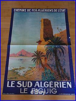 AFFICHE LITHOGRAPHIEE ORIENTALISTE SUR L' ALGERIE (CHEMIN DE FER)